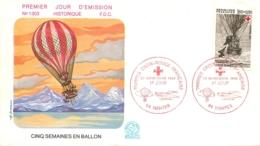 ENVELOPPE FDC PREMIER JOUR D'EMISSION 1982 CINQ SEMAINES EN BALLON  TIMBRE CROIX ROUGE FRANCAISE - FDC
