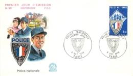 ENVELOPPE FDC PREMIER JOUR D'EMISSION 1976 POLICE NATIONALE - 1970-1979