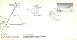 ENVELOPPE FDC PREMIER JOUR D'EMISSION 1976 CONCORDE PARIS RIO DE JANEIRO - 1970-1979