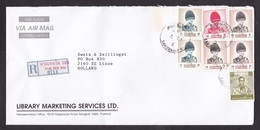 Thailand: Registered Airmail Cover To Netherlands, 7 Stamps, 2 Issues King, Bicolour R-label Sam Sen Nai (rough Opened) - Thailand