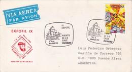 PUERTO DE L CRUZ. TENERIFE. EXPOFIL IX. SPECIAL COVER CIRCULEE 1990 A L'ARGENTINE. L'ESPAGNE - BLEUP - 1981-90 Cartas