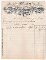 Facture De La La Maison Wirz & Merz à Menziken.Suisse.Fabrication De Plaques Pour Cadrans, Laminage De Cuivre.1913 - Suisse