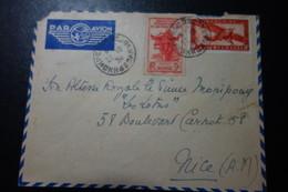 Lettre De PHNOMPEN Pour NICE 1938 - Indochine (1889-1945)