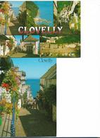 CLOVELLY HIGH STREET ET MULTIVUES  GRAND FORMAT 13X17CM  NORTH DEVON LOT 2 CARTES - Clovelly