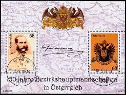 Austria Österreich 2018  Blockausgabe: 150 Jahre Bezirkshauptmannschaften  USED / O / GESTEMPELT - 1945-.... 2. Republik
