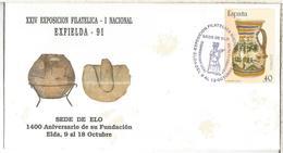 ELDA ALICANTE C C CON MAT SEDE DE ELO Y SELLO PERFORADO PERFIN 1991 - 1931-Heute: 2. Rep. - ... Juan Carlos I