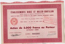 VP13.685 - PARIS 1952 - Action - Etablissements BIDEZ & HALLER - CHATILLON - Industrie