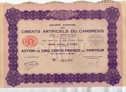 VP13.686 - PARIS  X CAMBRAI 1933 - Action - Société Des Ciments Artificiels Du Cambrésis - Industrie