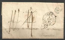(D118) LAC De PARIS Pour BRUXELLES Du 4/11/1841 - Rayon 4 En Rouge Et Noir - SR En Bleu - Par Quiévrain En Bleu - 1801-1848: Precursors XIX