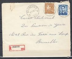 Aangetekende Brief Van Gosselies D Naar Bruxelles - 1936-1951 Poortman