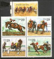 USA. Sports & Courses Hippiques : Obstacles,plat,trot Attelé,polo,etc  5 Timbres Neufs ** - Horses