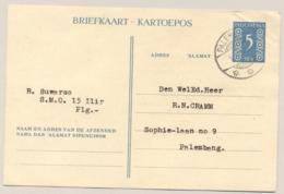 Nederlands Indië / Indonesia - 1949 - 5 Sen Cijfer, Briefkaart G80 Lokaal Gebruikt Palembang - Niederländisch-Indien