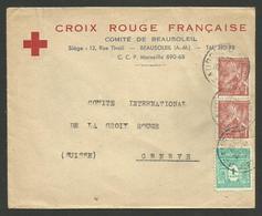 """Enveloppe """" Croix Rouge - Comité De BEAUSOLEIL """" / Affr. Iris & Arc 28.11.1944 >>> SUISSE - 1921-1960: Modern Tijdperk"""