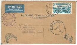 NEW ZEALAND 1934 FIRST TRANS TASMAN AIR MAIL AUSTRALIA SURCHARGE STAMP - Posta Aerea