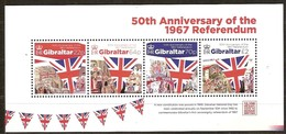 Gibraltar 2017 Micheln° 1802-1805 *** MNH 50th Anniversary Referendum 1967 - Gibraltar