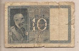 "Italia - Banconota Circolata Da 10 Lire ""Impero"" P-25c.1 - 1939 - [ 1] …-1946 : Koninkrijk"