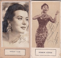 ESTHER SORE; XIOMA ALFAROI. PHOTO AUTOGRAPHED ONE ATACHED TO THE OTHER CIRCA 1950s ORIGINAL SIZE 8x16cm- BLEUP - Dédicacées