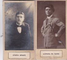 CRESTE PECORI; ALFREDO DE LA TORRE. PHOTO AUTOGRAPHED ONE ATACHED TO THE OTHER CIRCA 1910s ORIGINAL SIZE 8x16cm- BLEUP - Dédicacées