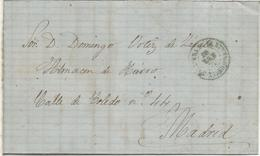 CARTA FECHADA EN TALAVERA DE LA REINA TOLEDO A MADRID 1871 MAT LLEGADA EN COLOR ROJO - 1870-72 Regencia
