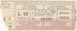 BIGLIETTO TRENO MUFFA CASALECCHIO 1953 (BX70 - Poitou-Charentes