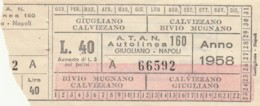 BIGLIETTO TRENO MUFFA CASALECCHIO 1953 (BX70 - Bus