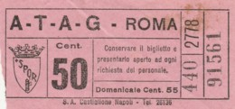 BIGLIETTO BUS TRAM ATAG ROMA (BX133 - Bus
