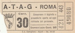 BIGLIETTO BUS TRAM ATAG ROMA (BX139 - Europa