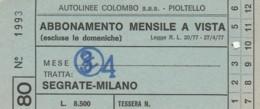 ABBONAMENTO MENSILE SEGRATE MILANO (BX173 - Abbonamenti