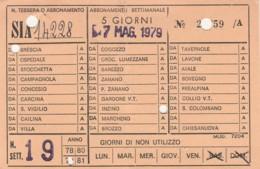 ABBONAMENTO SETTIMANALE SIA (BX198 - Abonnements Hebdomadaires & Mensuels