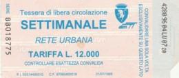 ABBONAMENTO SETTIMANALE TORINO (BX212 - Abbonamenti