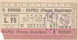 BIGLIETTO BUS TRAM S.GIORGIO NAPOLI 1964 L.75 (BX251 - Europe