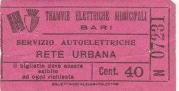 BIGLIETTO BUS TRAM BARI (BX264 - Europa