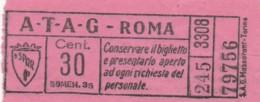 BIGLIETTO BUS TRAM ATAG ROMA (BX430 - Europa