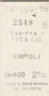 BIGLIETTO TRENO PISA EMPOLI 1976 L.600 (BX498 - Europe