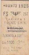 BIGLIETTO TRENO FIRENZE TERONTOLA  1973 (BX620 - Europe