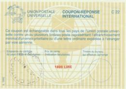COUPON-RESPONSE INTERNATIONAL UPU ITALIA 1994 L.1800 (LY95 - 6. 1946-.. Repubblica