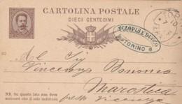 INTERO POSTALE 1882 10 CENT TIMBRO TORINO (LY136 - 1878-00 Umberto I