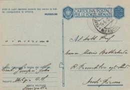 CARTOLINA IN FRANCHIGIA ANNI 40 -ARMI E CUORI (LY268 - 1900-44 Vittorio Emanuele III