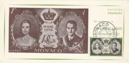 CARTOLINA COMMEMORATIVA 1956 MATRIMONIO PRINCII/GRACE KELLY (LY285 - Storia Postale