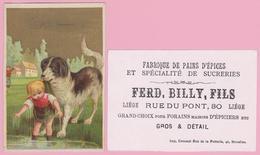 """CHROMO Fond  Doré - Fred. Billy, Fils -Fabrique """"Pains D'Epices"""" Rue Du Pont, LIEGE - Vieux Papiers"""