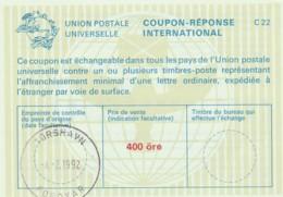 COUPON-REPONSE INTERNATIONAL 1992 TORSHAVN ISOLE FAROE 400 ORE (LY424 - Isole Faroer