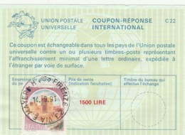 COUPON-REPONSE INTERNATIONAL 1991 ITALIA FIRENZE L.1500 (LY443 - 6. 1946-.. Repubblica