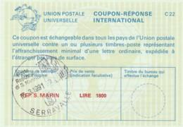 COUPON-REPONSE INTERNATIONAL 1991 LIRE 1800 SERRAVALLE R.SAN MARINO (LY478 - Saint-Marin