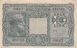 BIGLIETTO DI STATO 10 LIRE 1944 ITALIA VF (LY586 - [ 1] …-1946 : Royaume