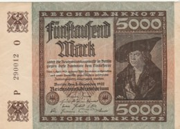 BANCONOTA 5000 1922 GERMANIA Q-UNC  (LY593 - [ 3] 1918-1933 : República De Weimar