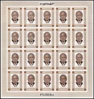 300d - Fujeira MNH ** Mi N° 379 B Non Dentelé (imperforate) Adenauer Feuilles (sheets) - Célébrités