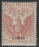 COLONIE ITALIANE LIBIA 1915-16 Croce Rossa 20c Nuovo TL  Varietà Sovrastampa Spostata In Basso - Libya
