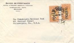 Ecuador 1954 Cover With 2 X 10 Cts Revenue Stamps Overprinted POSTAL - Ecuador
