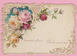 """DECOUPI  -  CARTE  RELIEF:  """"CHARMANTES  FLEURS  PARLEZ  POUR  MOI""""  11,5cm X 8cm - Flowers"""