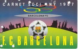 CARNET DE SOCIO DEL FUTBOL CLUB BARCELONA DEL AÑO 1987 - ANUAL (BARÇA) - Fútbol